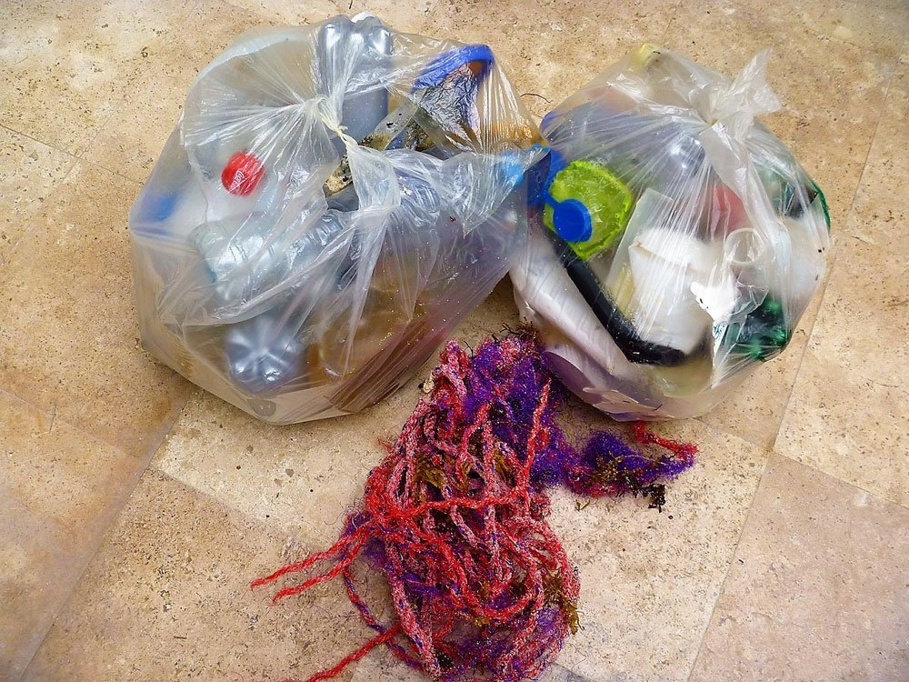 Plastic garbage, another reality of beach flotsam.