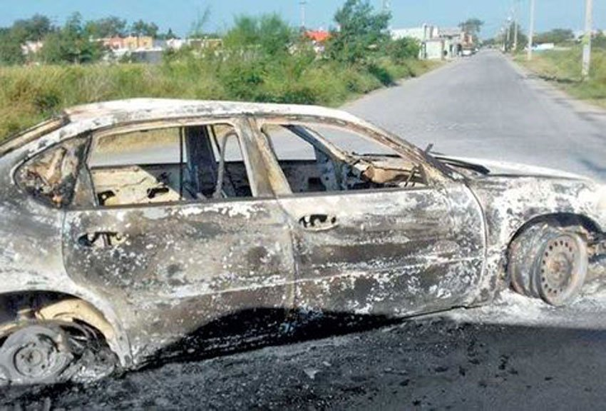 A burned-out car after the violence in Reynosa.
