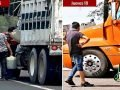 Trucks purchase discount fuel on the Mexico City-Puebla freeway