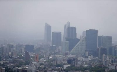 A smoggy day in Mexico City.
