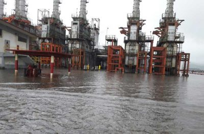 The Pemex refinery under water today.