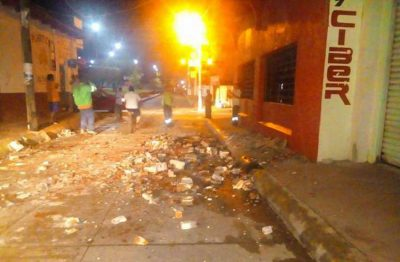 Rubble left in the street of a town in Chiapas after this morning's quake.