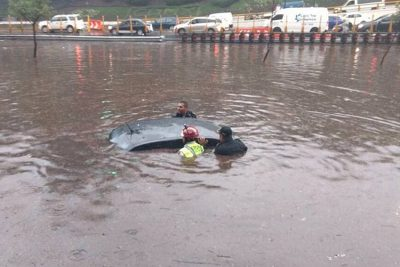 A car stranded by floodwaters in Mexico City.