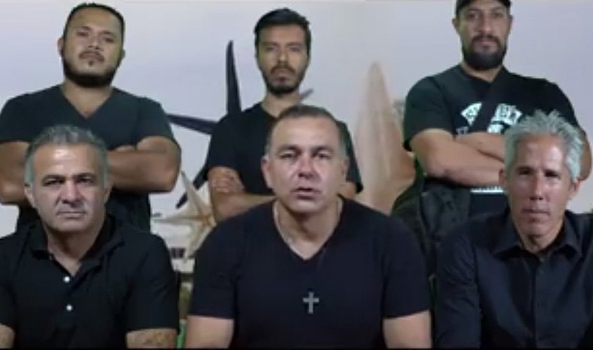 Mimenza, center, in video announcing new self-defense group.