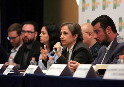 Journalist Carmen Aristegui, one of the spyware targets, speaks during today's press conference