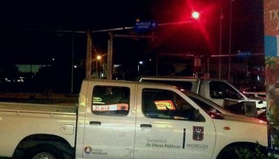 Busted: Morelos government vehicle spotted in Acapulco.