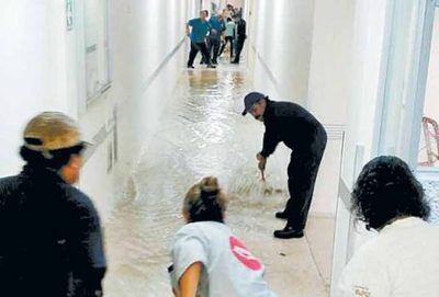 Mopping up yesterday at a hospital in Mexico City.
