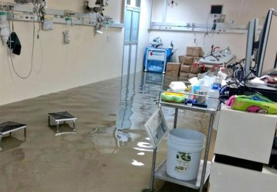 Floodwaters in Mexico City hospital.