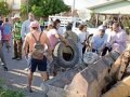 Citizens clean up old junk in Ciudad Victoria.