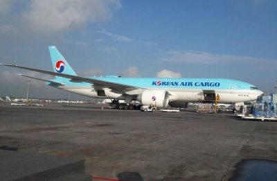 The Korean Air flight loads up in Guadalajara.