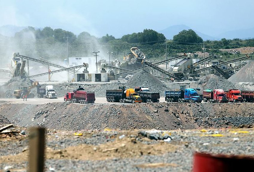 There's a rush on to provide construction materials to the new airport.