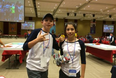 Brother and sister robot builders.