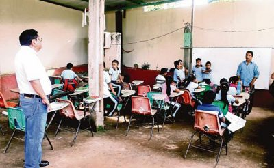 Improvised classroom in the Chiapas school.