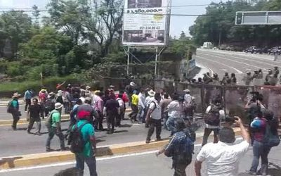 Teachers were halted by police in Oaxaca today.