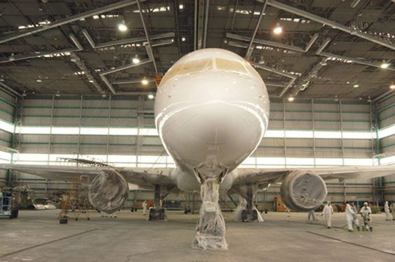 Aircraft is prepared for painting in Mexicana MRO hangar.