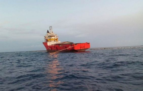 The Antares, stranded on a reef off Veracruz.