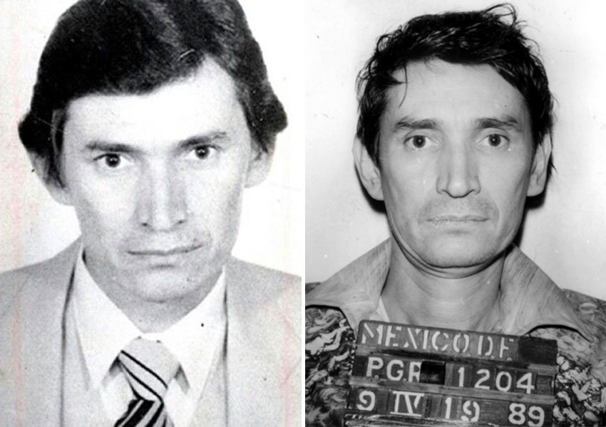 Félix Gallardo the narco, left, and the prisoner, right.