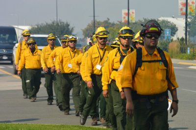 Mexican firefighters arrive in Canada on Friday.