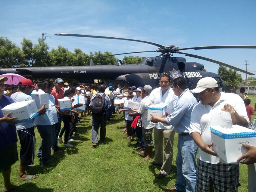 Aid arrives by helicopter in San Francisco del Mar, Oaxaca.