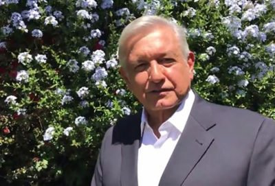 López Obrador: first to offer election funding to aid victims.