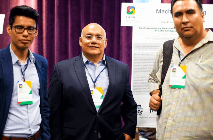 Google award winners, from left, Ponce Espinosa, Vallejo Clemente and González Gurrola