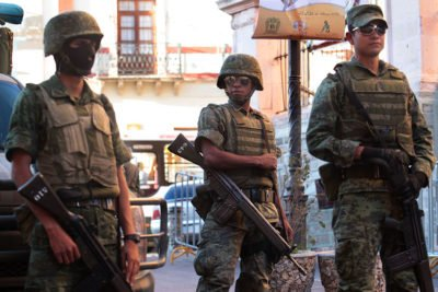 Soldiers on patrol in Guanajuato.