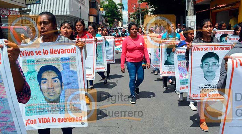 Marchers yesterday in Guerrero.