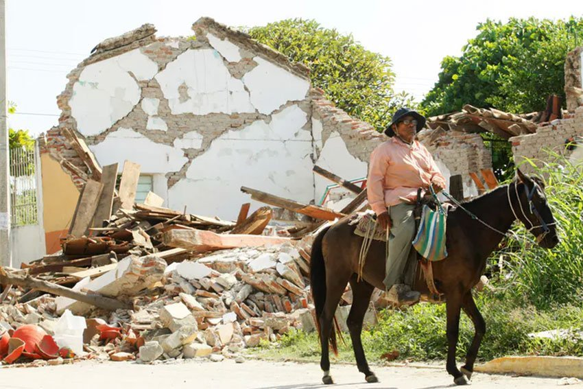 Earthquake damage in southern Mexico.