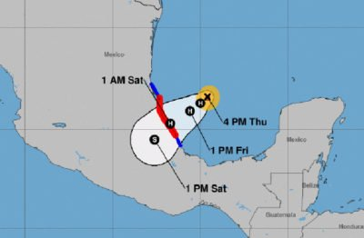 Hurricane warning area is marked in red, the tropical storm warning in blue.