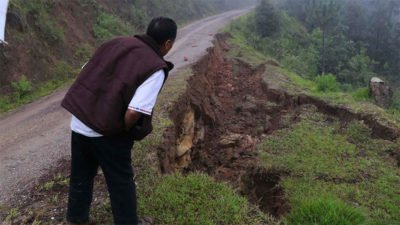 Damaged highway in the Mixe region of Oaxaca.