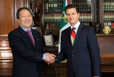 The North Korean ambassador and President Peña Nieto when relations were more cordial.