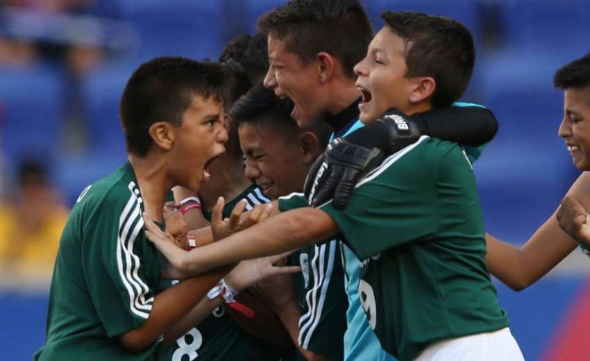 Mexico's under-12 team celebrate their win yesterday in New Jersey.
