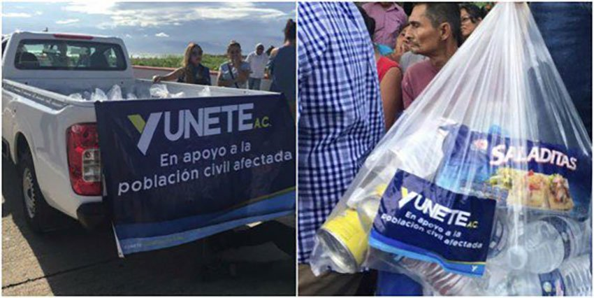 Yunete logo has appeared in distribution of hurricane aid.