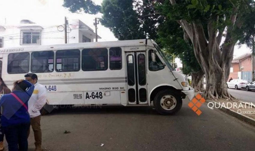 A bus blocks traffic at a teachers' blockade in Oaxaca.