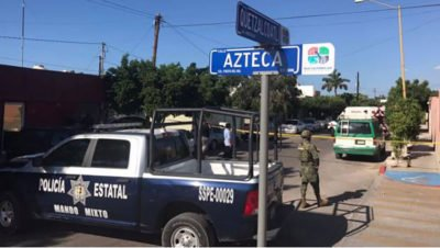 Police at a crime scene in Baja California Sur this week.