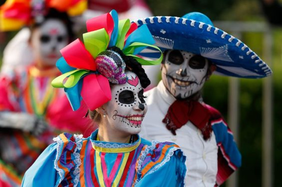 Saturday's Day of the Dead parade in Mexico City.