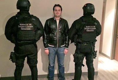 Félix Beltrán after his arrest this morning.