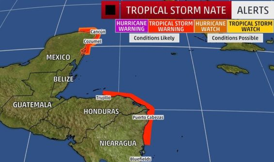 Warning areas posted for tropical storm Nate