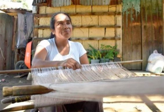 Soberanes continues weaving after losing much of her house.