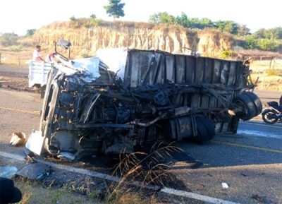 The truck that was involved in Saturday's accident that killed three.