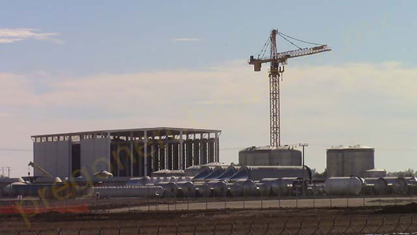 The construction crane where protesters are on hunger strike.