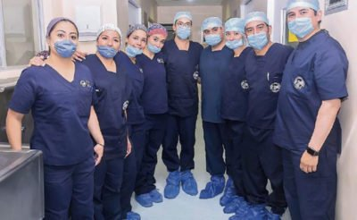 Part of the team that conducted the transplantation procedure.