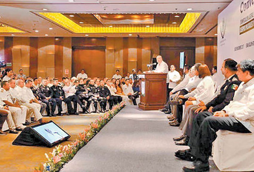 Security commissioner speaks at Tabasco conference.
