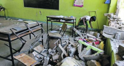 Earthquake-damaged school in Guerrero.