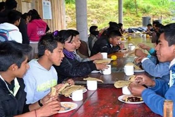 Indigenous youths at one of the Oaxaca shelters.