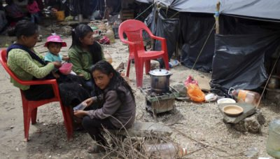 Displaced citizens in a Chiapas camp.
