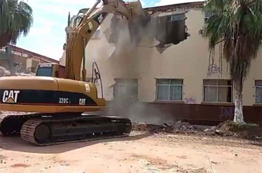 A house is demolished after it sustained earthquake damage in September.