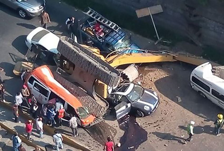 The excavator after yesterday's accident.