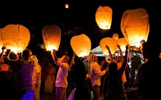 Sky lanterns: hard on palapas.