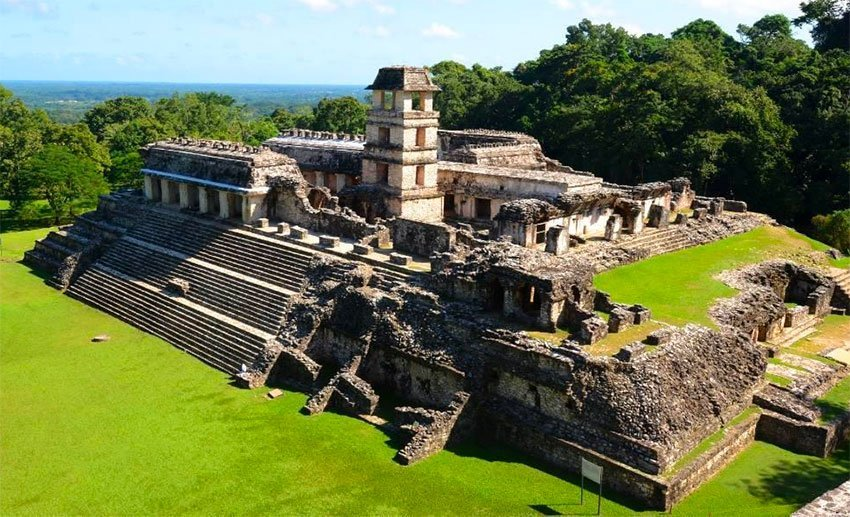 The archaeological site at Palenque.